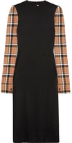 Loewe Checked Wool Blend-paneled Stretch-satin Midi Dress - Black