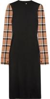 Loewe Checked Wool Blend-paneled Stretch-satin Midi Dress