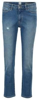 BOSS Cropped jeans in super-stretch vintage-blue denim