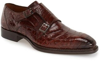 Mezlan Prague Genuine Crocodile Double Monk Strap Shoe