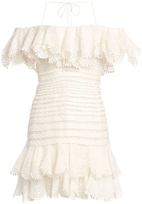 Zimmermann Super 8 Plisse Lace Eyelet Cold-Shoulder Silk & Linen Mini Dress