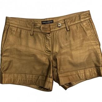 Dolce & Gabbana Gold Leather Shorts for Women