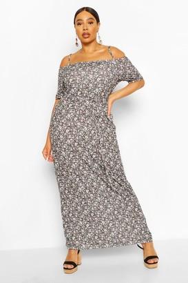 boohoo Plus Ditsy Floral Cold Shoulder Maxi Dress