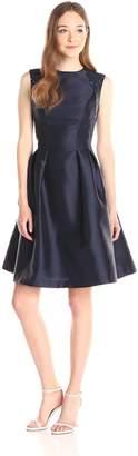 Carmen Marc Valvo Women's Fitted Waist Dress with Release Pleats