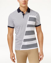Perry Ellis Men's Pieced Diagonally Striped Polo