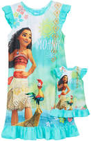 Disney Moana 2-Pc. Graphic-Print Nightgown & Doll Nightgown Set, Little Girls