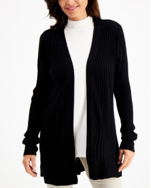 Karen Scott Rib-Knit Open Cardigan, Created for Macy's