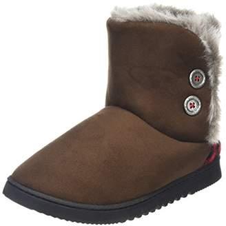 Dearfoams Women's Two-Button Boot with Memory Foam Hi-Top Slippers, Brown (Espresso 00205), 3-4 Uk (36-37 EU)