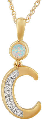 Fine Jewelry C Womens Lab Created White Opal 14K Gold Over Silver Pendant Necklace