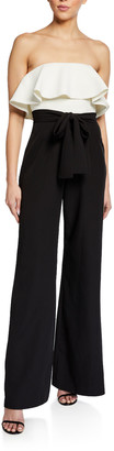 Theia Love, Colorblock Strapless Ruffle Top Wide-Leg Jumpsuit