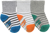 Robeez Blue & Orange Cool Stripe Three-Pair Socks Set