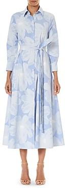 Carolina Herrera Belted Floral Print Cotton Shirt Dress