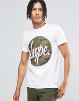 Hype T-shirt With Camo Script Logo