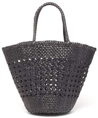 Dragon Optical Diffusion - Cannage Myra Woven-leather Basket Bag - Womens - Black