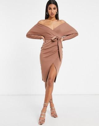 ASOS DESIGN bardot wrap batwing sleeve midi dress with self tie belt in brown