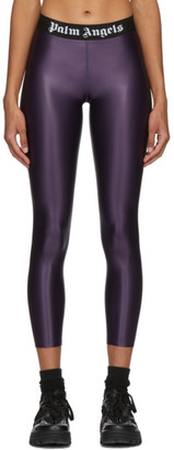 Palm Angels Purple Logo Leggings