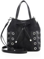 Tory Burch Block-T Grommeted Suede & Leather Bucket Bag