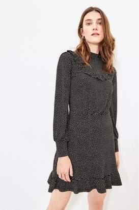 Oasis Womens Black Spot Ruffle Skater Dress - Black