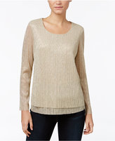 JM Collection Petite Layered-Look Crinkle Tunic, Only at Macy's