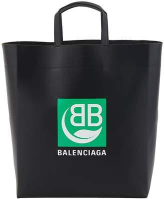 Balenciaga Green Logo leather tote bag