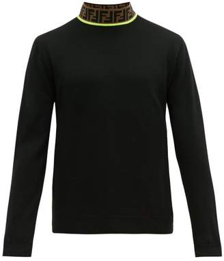Fendi Logo Jacquard High Neck Wool Blend Sweater - Mens - Black