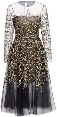 Oscar de la Renta Embroidered Illusion Tulle Dress