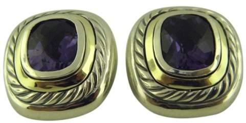David Yurman Albion 925 Sterling Silver & 14K Yellow Gold with Amethyst Earrings