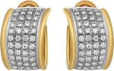 Estate Jewelry Estate Leo Pizzo 18k Two-Tone Diamond Pave Huggie Earrings, 3.52tcw