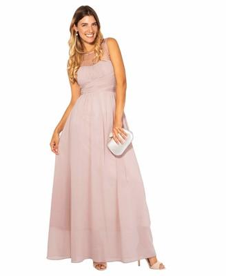 KRISP Gem & Mesh Front Chiffon Maxi Dress