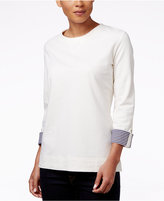 Karen Scott Printed-Cuff Sweatshirt, Only at Macy's