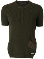 DSQUARED2 rib knit pocket top - women - Cotton/Spandex/Elastane/Wool - M