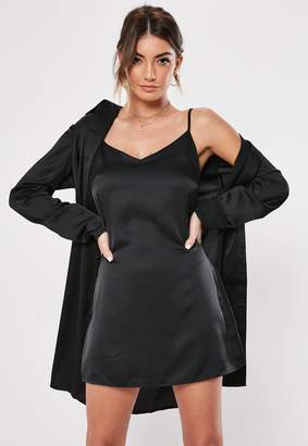 Missguided Black Cami Duo Satin Shirt Dress