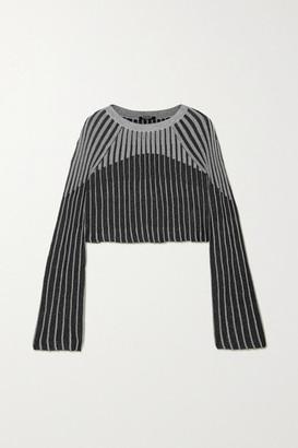 Balmain Cropped Metallic Ribbed-knit Top