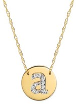 Women's Jane Basch Designs Diamond Initial Disc Pendant Necklace