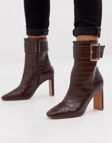 Asos Design DESIGN Entourage buckle high ankle boots in brown croc