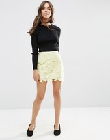Asos Lace Mini Skirt with Scalloped Hem
