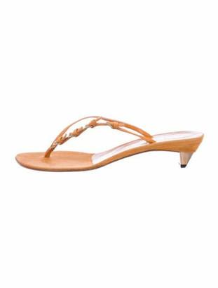 Prada Suede Flip Flops Gold
