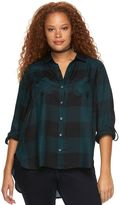 Rock & Republic Plus Size Plaid Roll-Tab Shirt