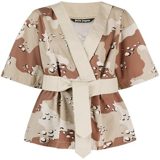 Palm Angels Camouflage-Print Wrap Top