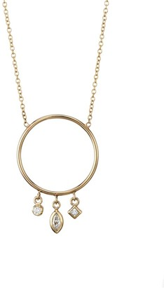 Zoë Chicco 14K Yellow Gold & Diamond Charm Circle Pendant Necklace