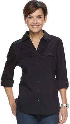 Croft & Barrow Women's Knit-to-Fit Solid Shirt