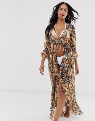 Asos Design DESIGN spliced animal print tie front beach kimono-Multi