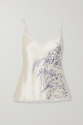 Carine Gilson Lace-trimmed Printed Silk-satin Camisole - Cream