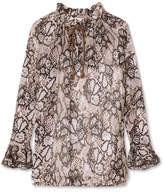 See by Chloe Printed Cotton And Silk-blend Crepon Blouse - Light brown