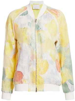3.1 Phillip Lim Transparent Frame Abstract Bomber Jacket