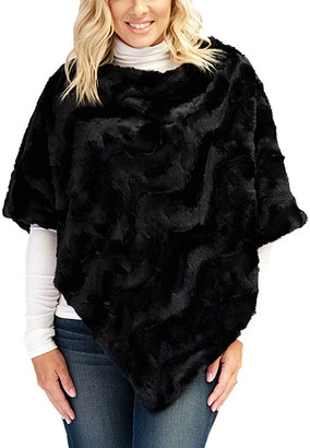 Donna Salyers' Fabulous Faux Furs Donna Salyers' Fabulous-Faux Furs Women's Ponchos Black - Black Rex Rabbit Faux Fur Poncho - Women