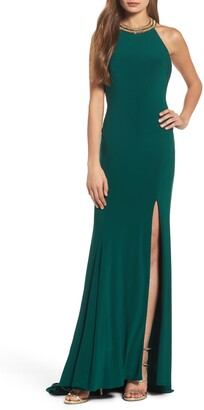Mac Duggal Ieena For  Beaded Halter Neck Gown
