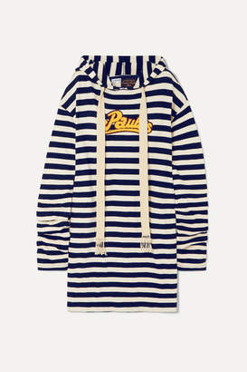 Loewe + Paula's Ibiza Hooded Appliqued Striped Jersey Dress - Navy