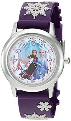 Disney Girls' Frozen 2 Stainless Steel Analog Quartz Watch with Plastic Strap