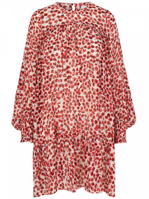 MUNTHE Joelle Mini Leopard Print Smock Dress - Red 34 / 38DK-UK12